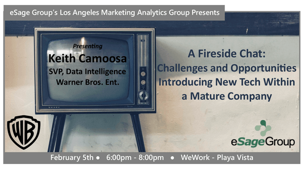 Join us on February 5th for the Los Angeles Marketing Analytics Group's Event – A Fireside Chat: Challenges and Opportunities Introducing New Tech Within a Mature Company w/ Warner Bros. Ent.