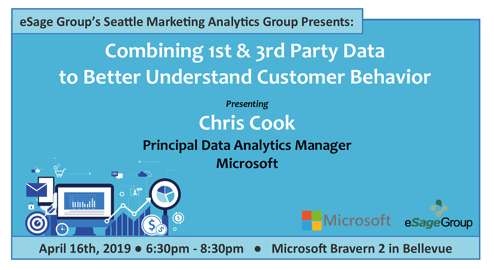 Join us on April 16th for the Seattle Marketing Analytics Group's Event – Combining 1st & 3rd Party Data to Better Understand Customer Behavior w/ Microsoft