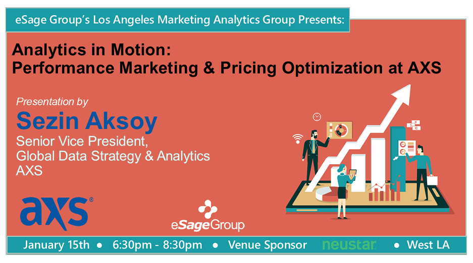 Join us on January 15th for eSage Group's Los Angeles Marketing Analytics Group's Next Event w/ AXS – Analytics in Motion: Performance Marketing & Pricing Optimization